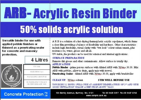 A R B -Acrylic Resin Binder - Concrete Protection